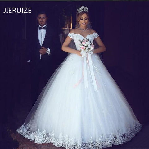 JIERUIZE White Lace Appliques Ball Gown Cheap Wedding Dresses Off The Shoulder Short Sleeves Bridal Dresses Wedding Gowns - BuyShipSave