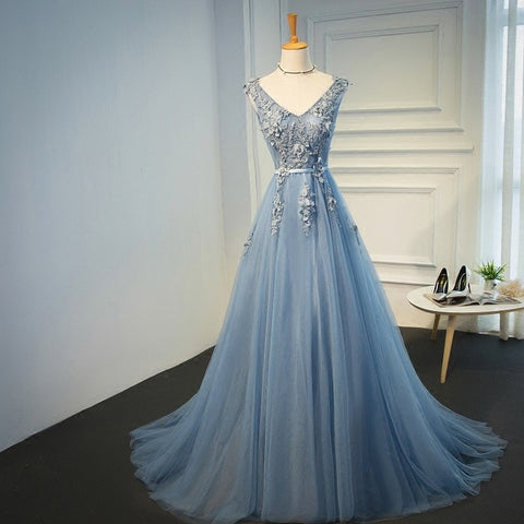 Elie Saab Blue Evening Dresses 2019 Plus Size Tulle Appliques Long Formal Dresses Gowns V Neck Lace Up Sleeveless Robe De Soiree - BuyShipSave