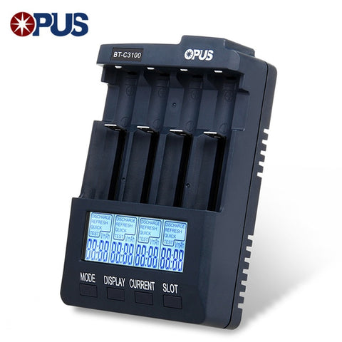 Opus BT-C3100 V2.2 Digital Intelligent 4 Slots LCD Battery Charger For Li-Ion NiCd NiMh Batteries US / EU Plug LED Screen - BuyShipSave