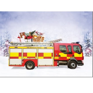 Fire Engine with Presents Christmas Cards