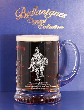 'Saved' Panel Cut Crystal Beer Tankard - J10D