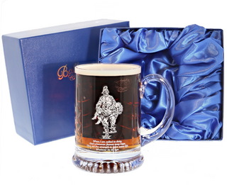 'Saved' Panel Cut Crystal Beer Tankard, Boxed - H10D