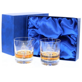 'Saved' Pair of Plain Crystal Whiskey Glasses, Boxed - H21B