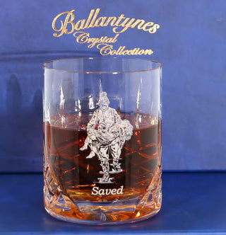 'Saved' Panel Cut Crystal Whisky Tumbler - J20B