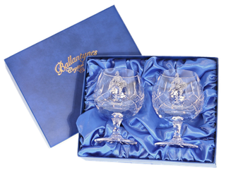 'Saved' Pair of Panel Cut Crystal Brandy Goblets - H30B