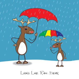 """Looks Like Rain Dear"" Christmas Cards"