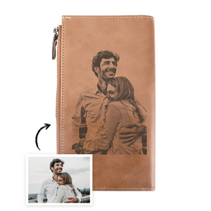 Long Style Bifold Custom Photo Wallet Brown Cross Pattern