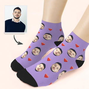 Custom Quarter Socks Heart - MyPhotoSocks