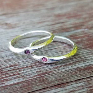Geometric Birthstone Stackable Ring