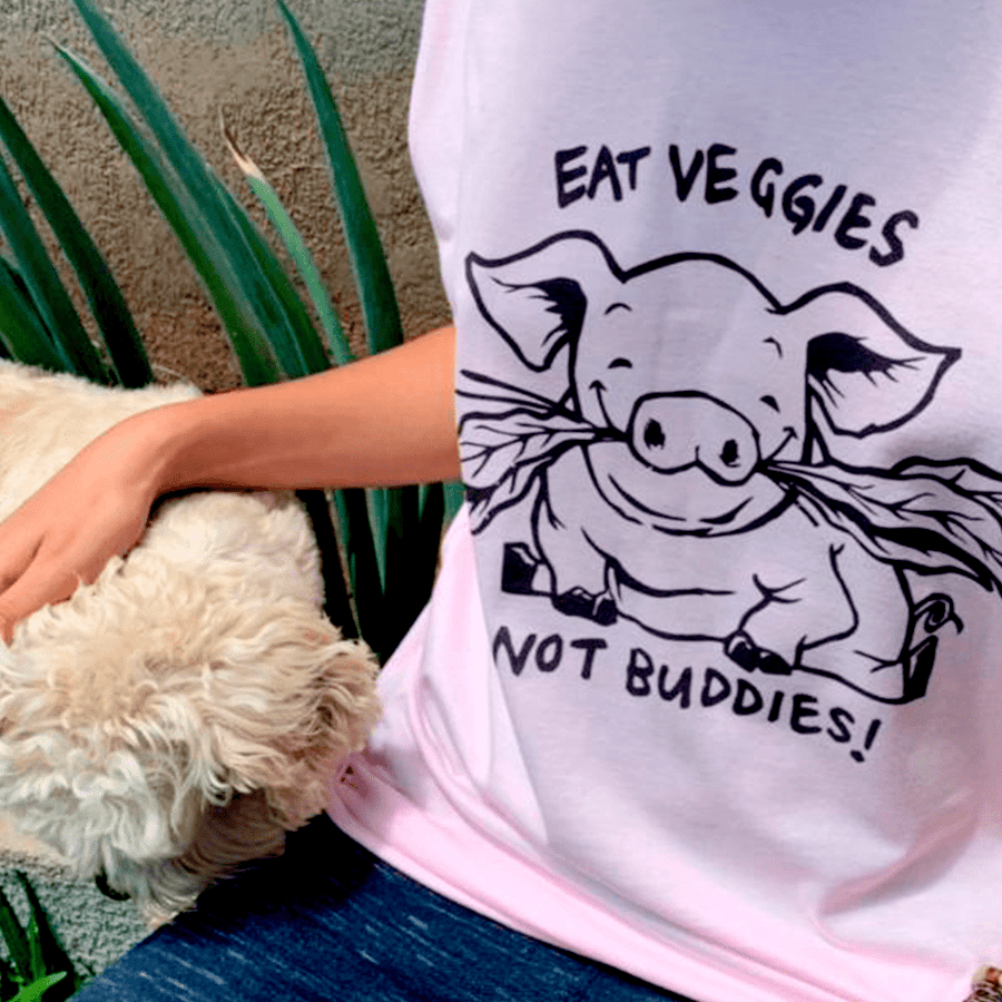 CAMISETA EAT VEGGIES NOT BUDDIES | VEGAN