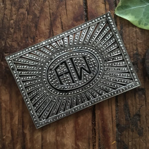 vintage sterling & marcasite initial pin ~AW~