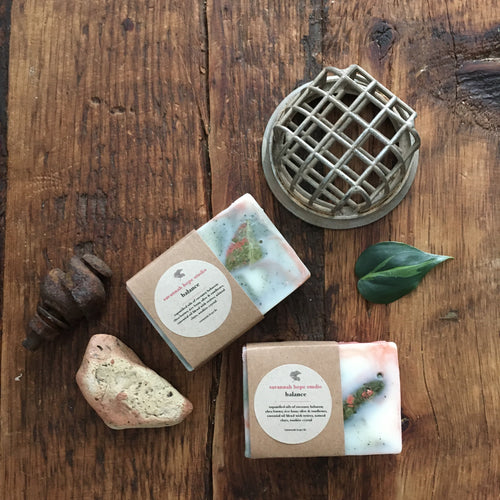 ~ balance~  unakite crystal embedded soap {vegan}