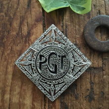 Load image into Gallery viewer, vintage sterling & marcasite initial pin ~PGT~