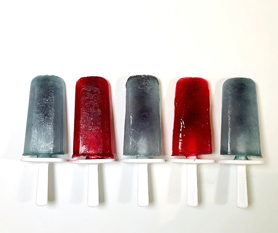 Blue and Red Tea Popsicles on white sticks