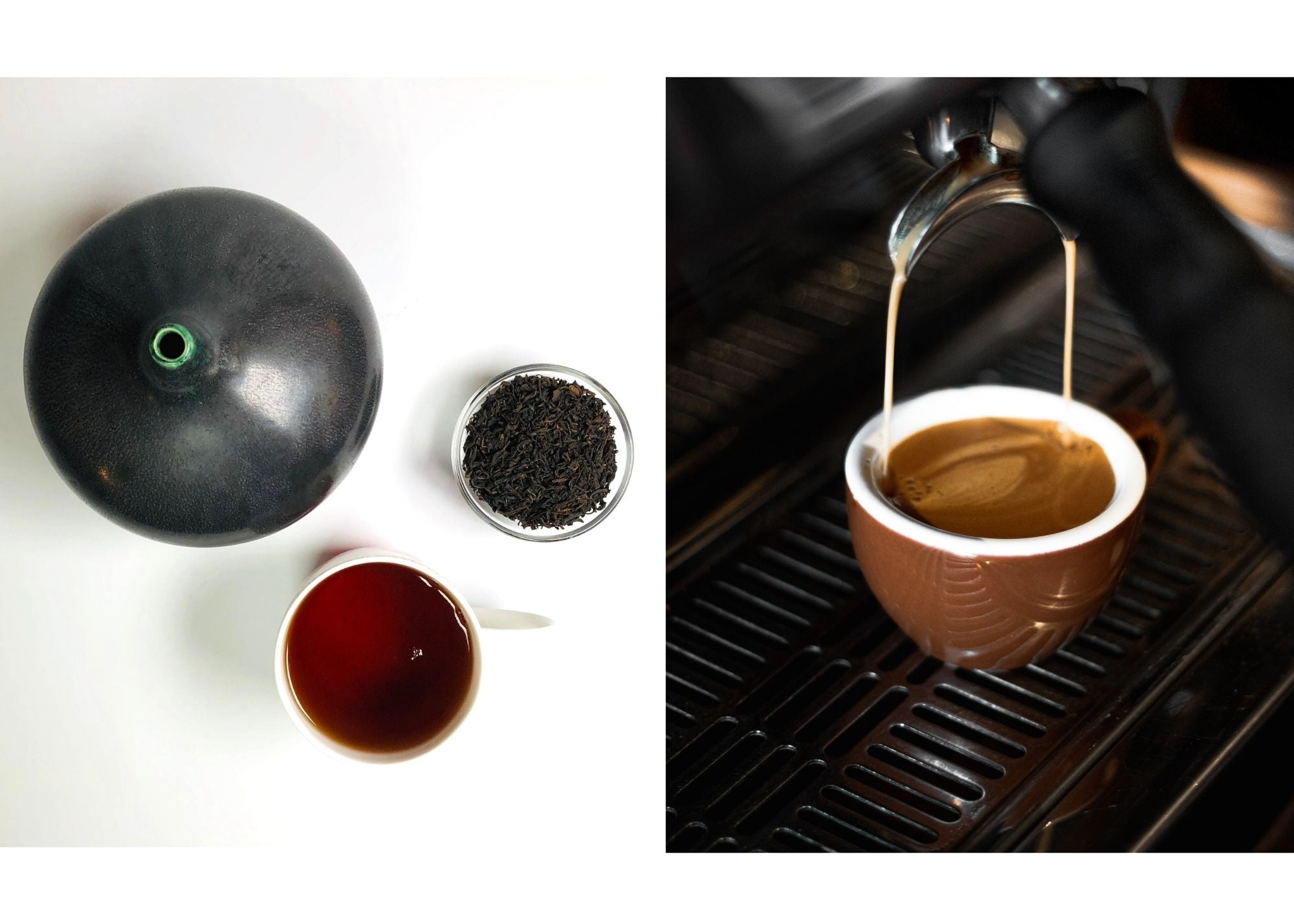 cup of brewed tea next to a cup of espresso coffee