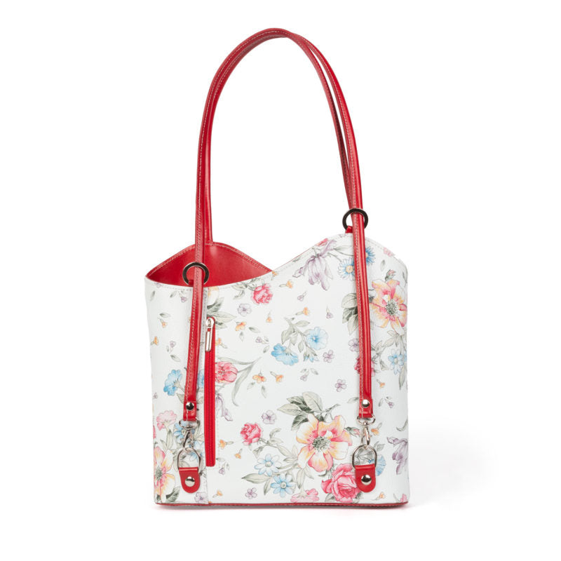 Bolso Largo Amelie en Color Blanco y Estampado Floral - Santa Firenze