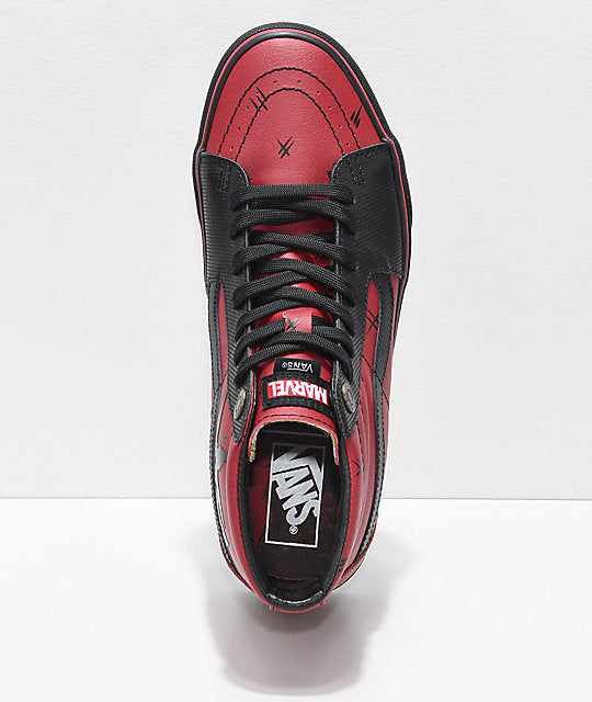 ef0fb88f54 Vans x Marvel Sk8-Hi Deadpool Red   Black Shoes – Super Crate