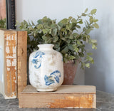 Short Transferware Blue and White Vase (3 Patterns)