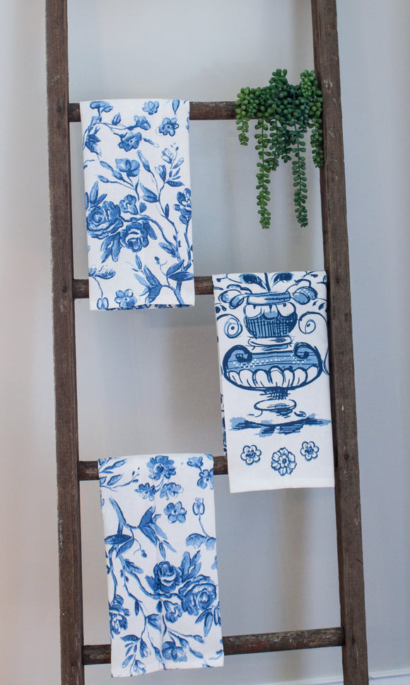 Blue and White Tea Towel