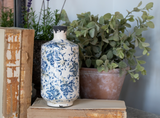 Tall Transferware Blue and White Vase (3 Patterns)