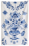 blue and white dish towel urn print