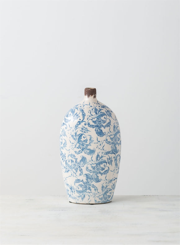 Blue and White Terracotta Vase