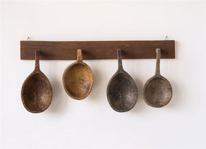 Hand Carved Wood Spoons with Wooden Hanger