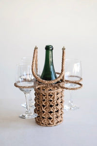 Seagrass Wine Bottle and Glass Holder