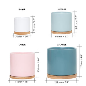 Ceramic Flower Pot with Bamboo Tray (various colors)