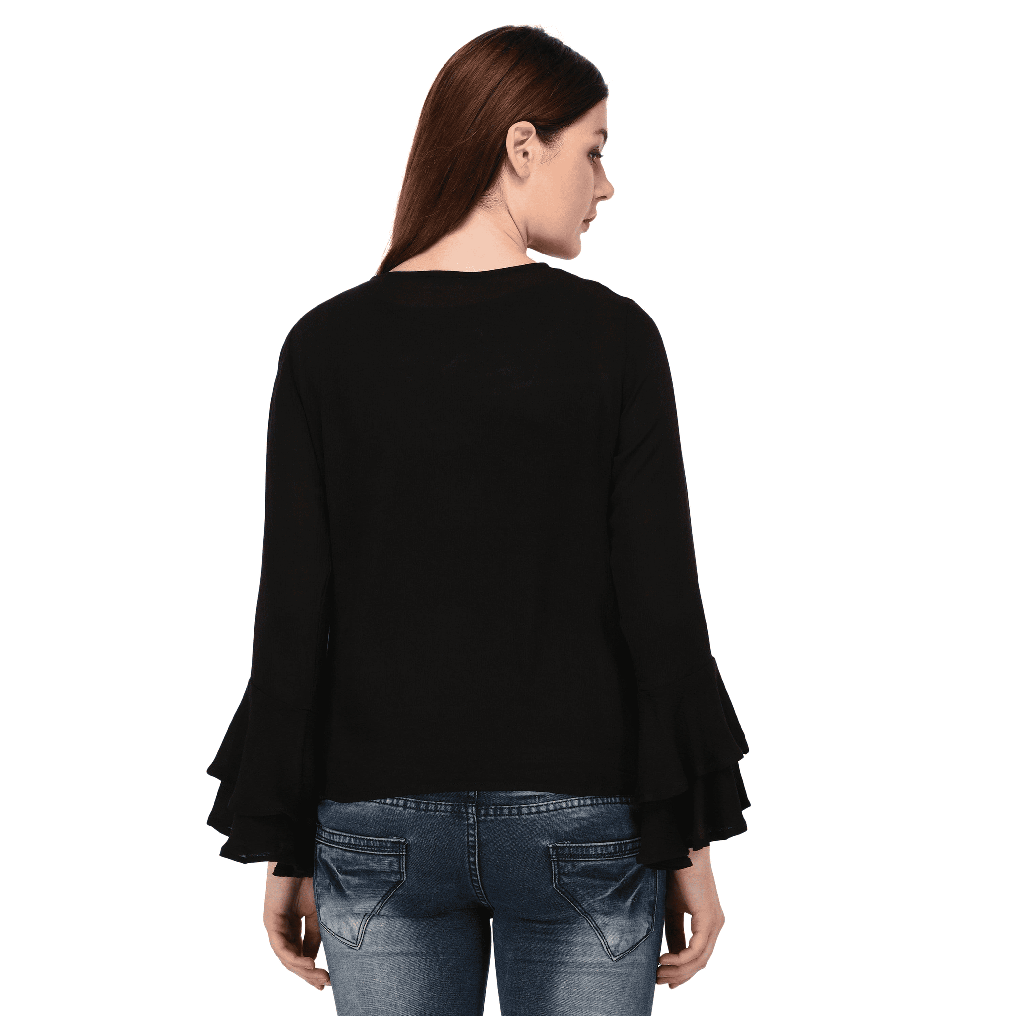 Double Bell Sleeves Top Black - NIXX Clothing