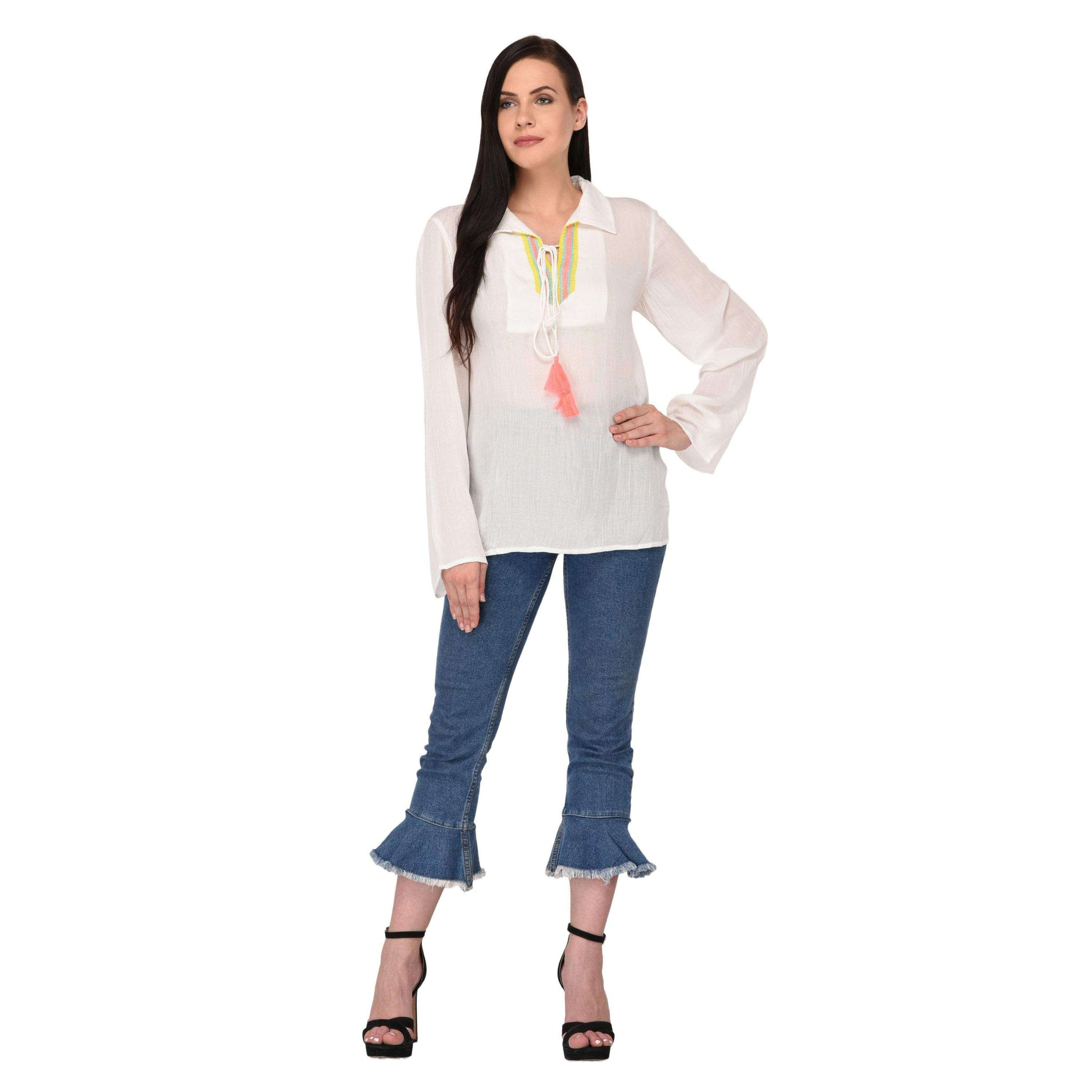 Tie-up Lace Top White - NIXX Clothing