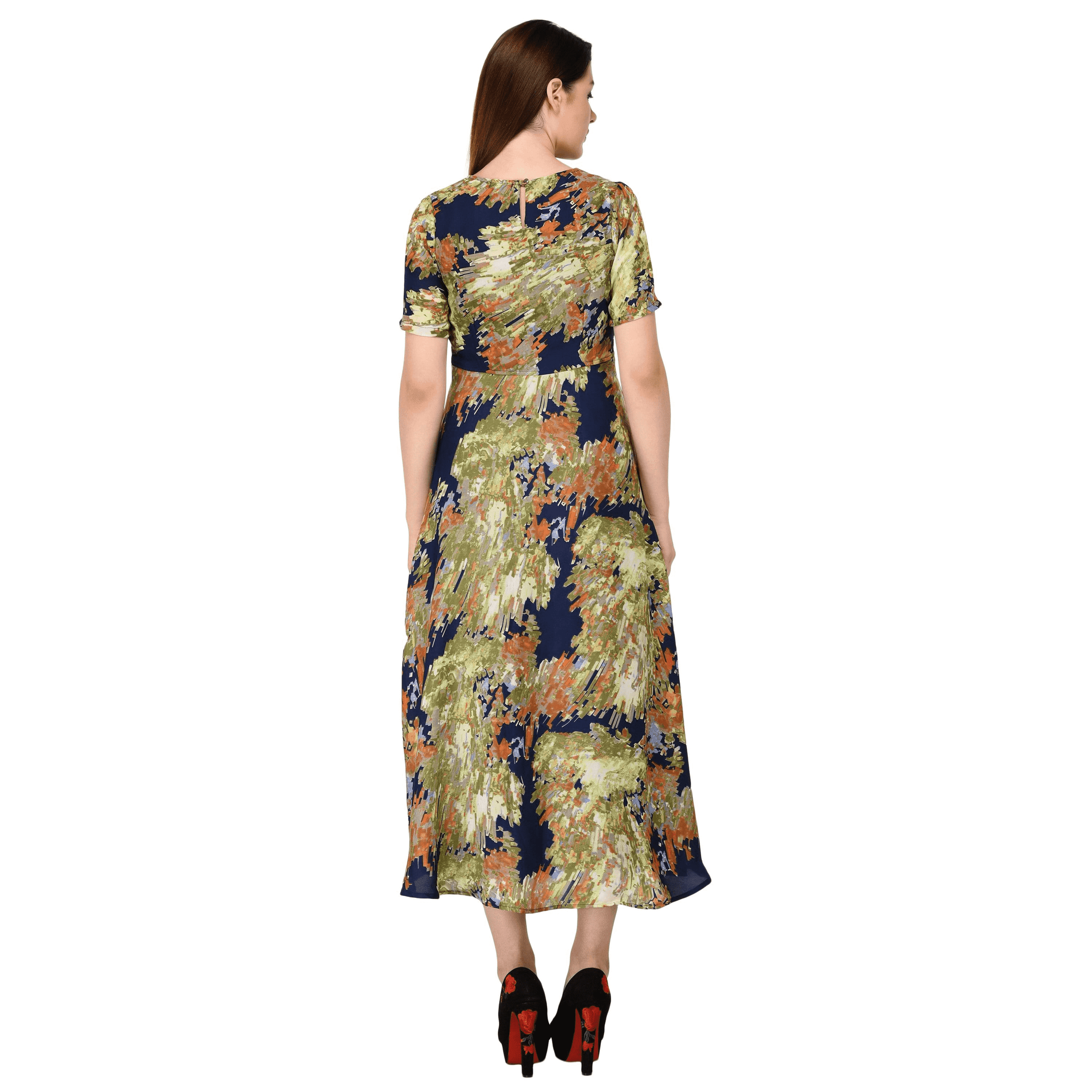 Printed Cut-Out Long Dress Green - NIXX Clothing