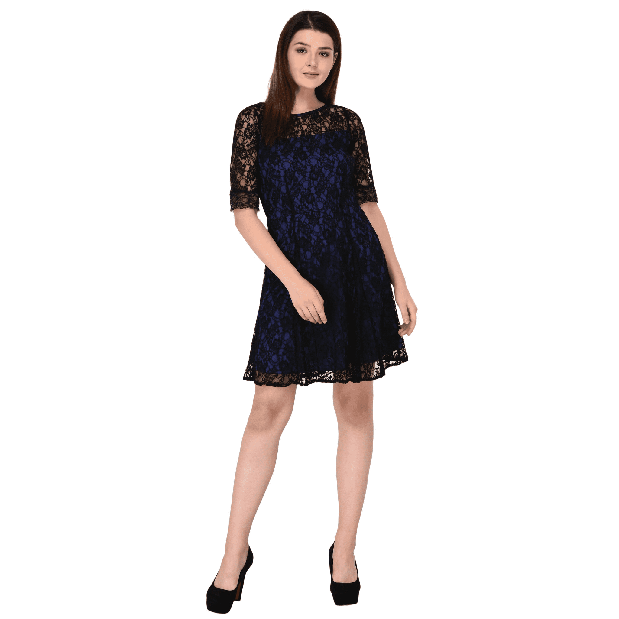 Lace Skater Dress Blue - NIXX Clothing