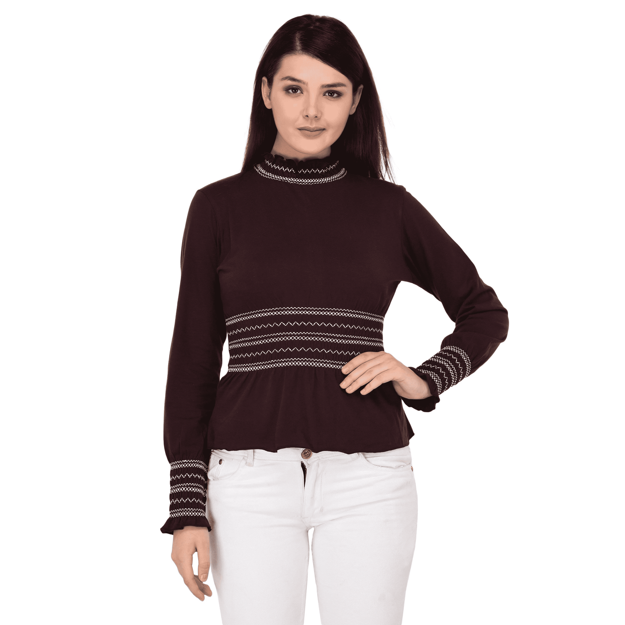 High Neck Smocking Top Maroon - NIXX Clothing