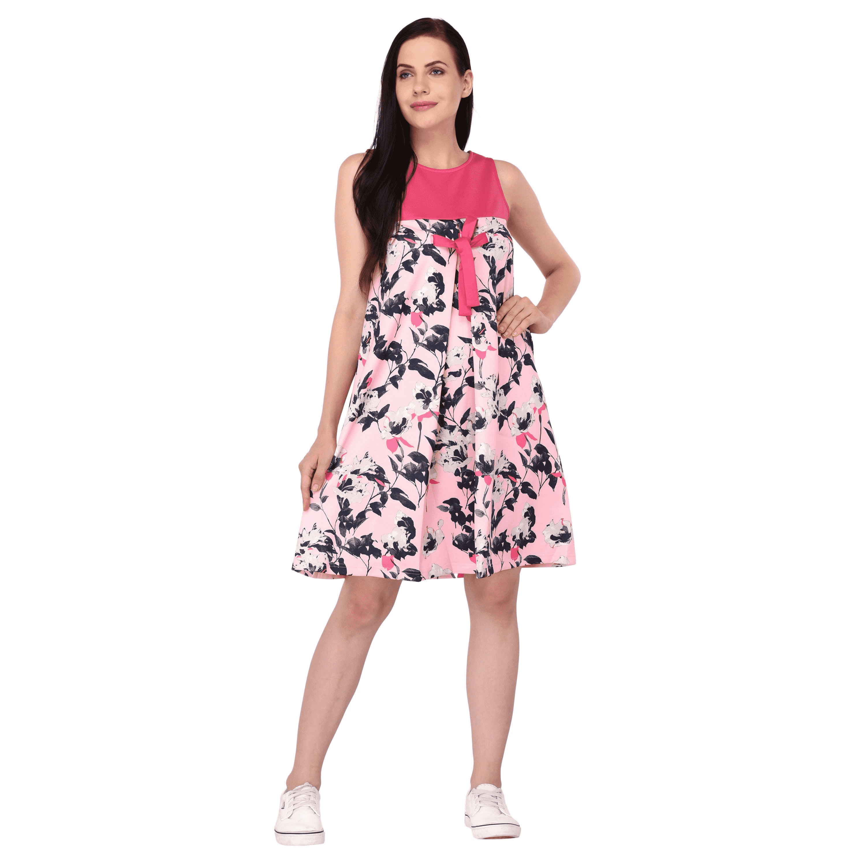 Printed Bow Dress Pink - NIXX Clothing