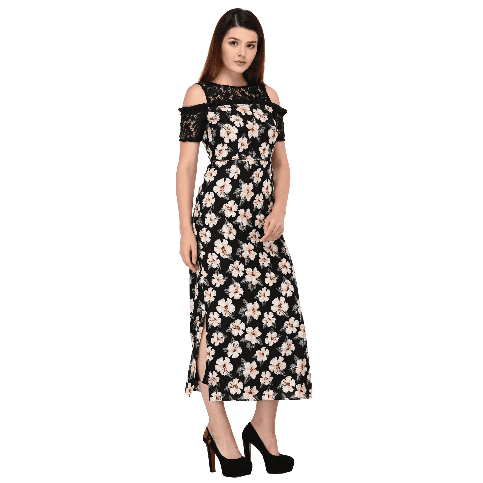 Floral Lace Long Dress Black - NIXX Clothing