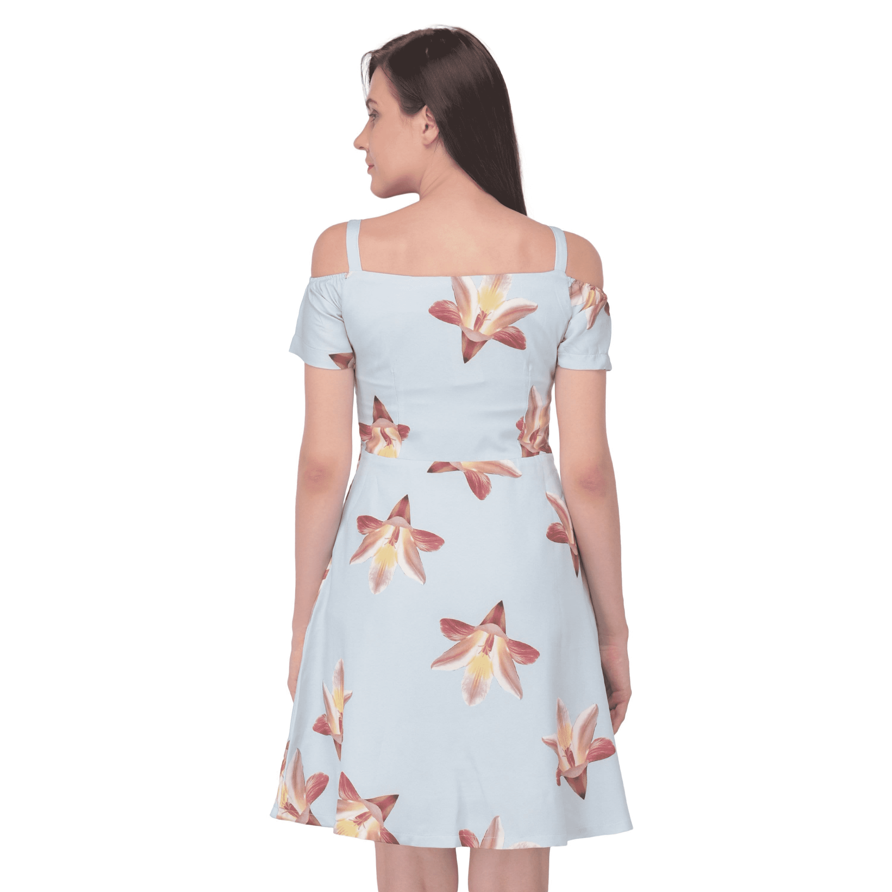 03943b06c7deb Floral Cold Shoulder Dress Sky Blue