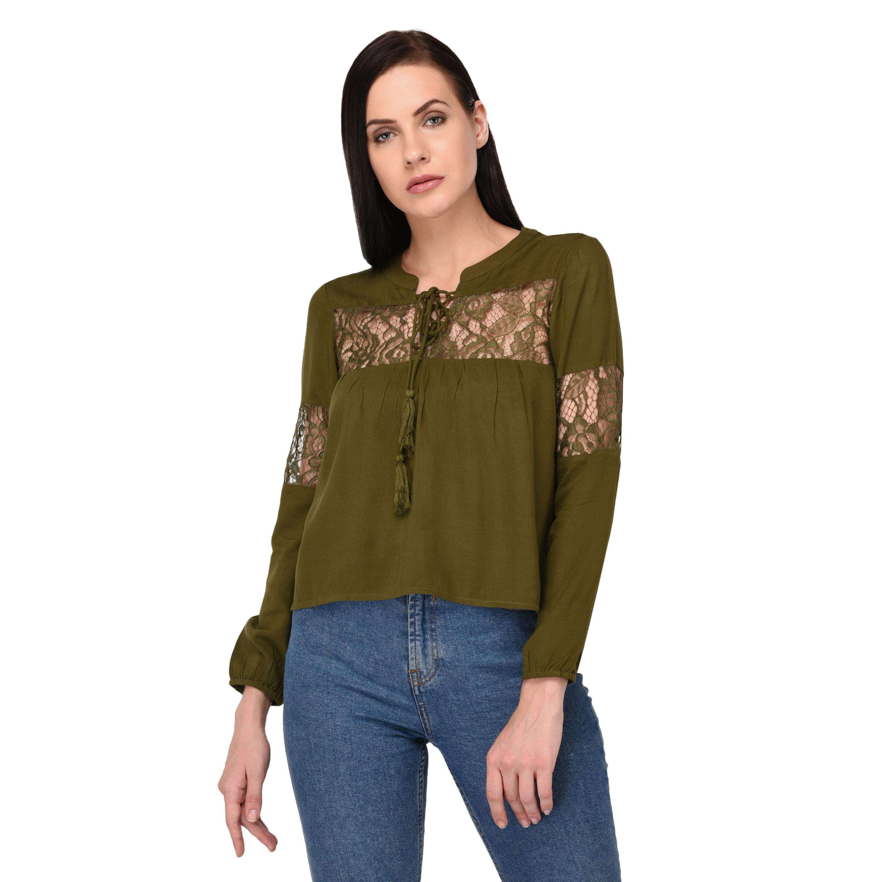 Tie up Neck Top Olive - NIXX Clothing