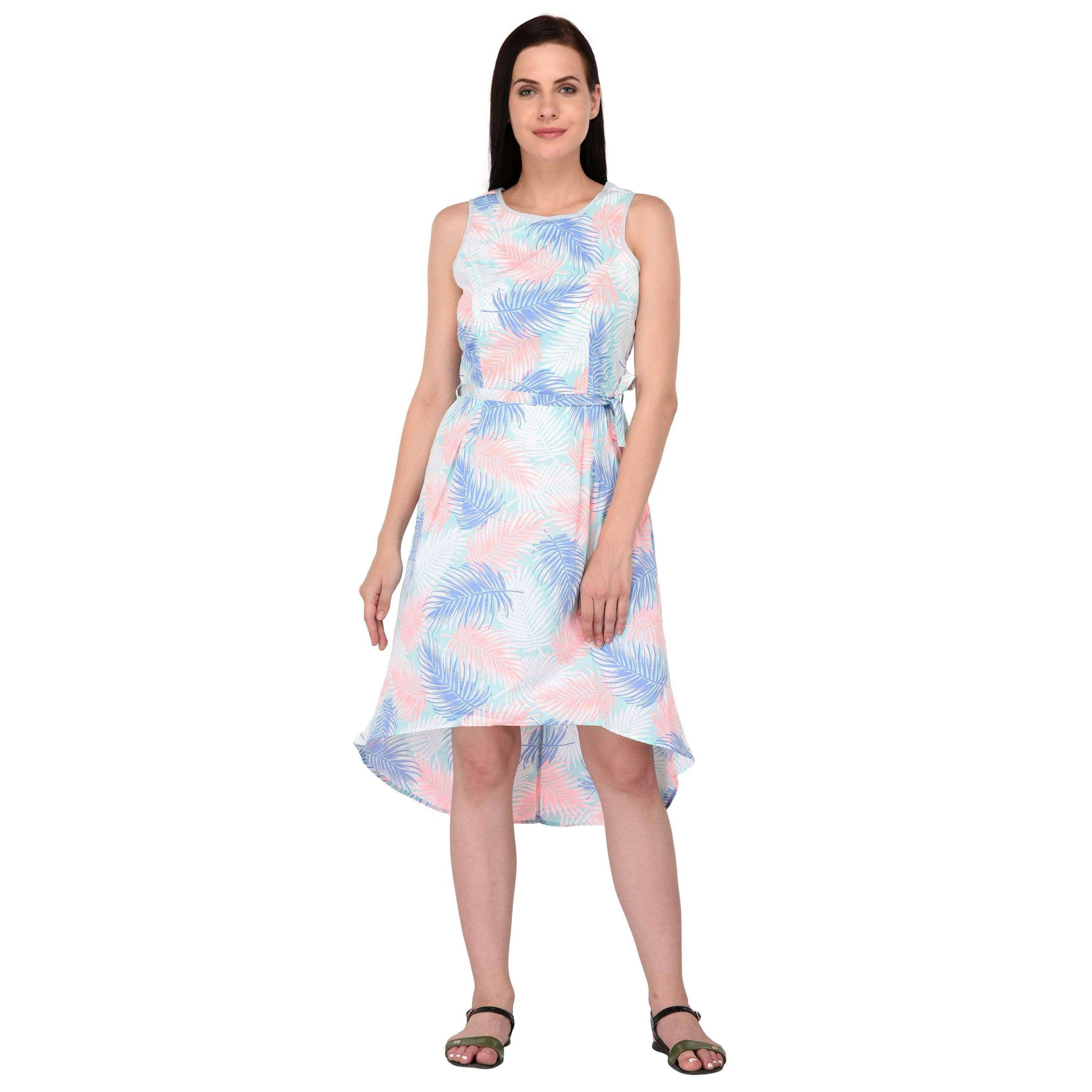 Printed High-Low Dress Pink - NIXX Clothing