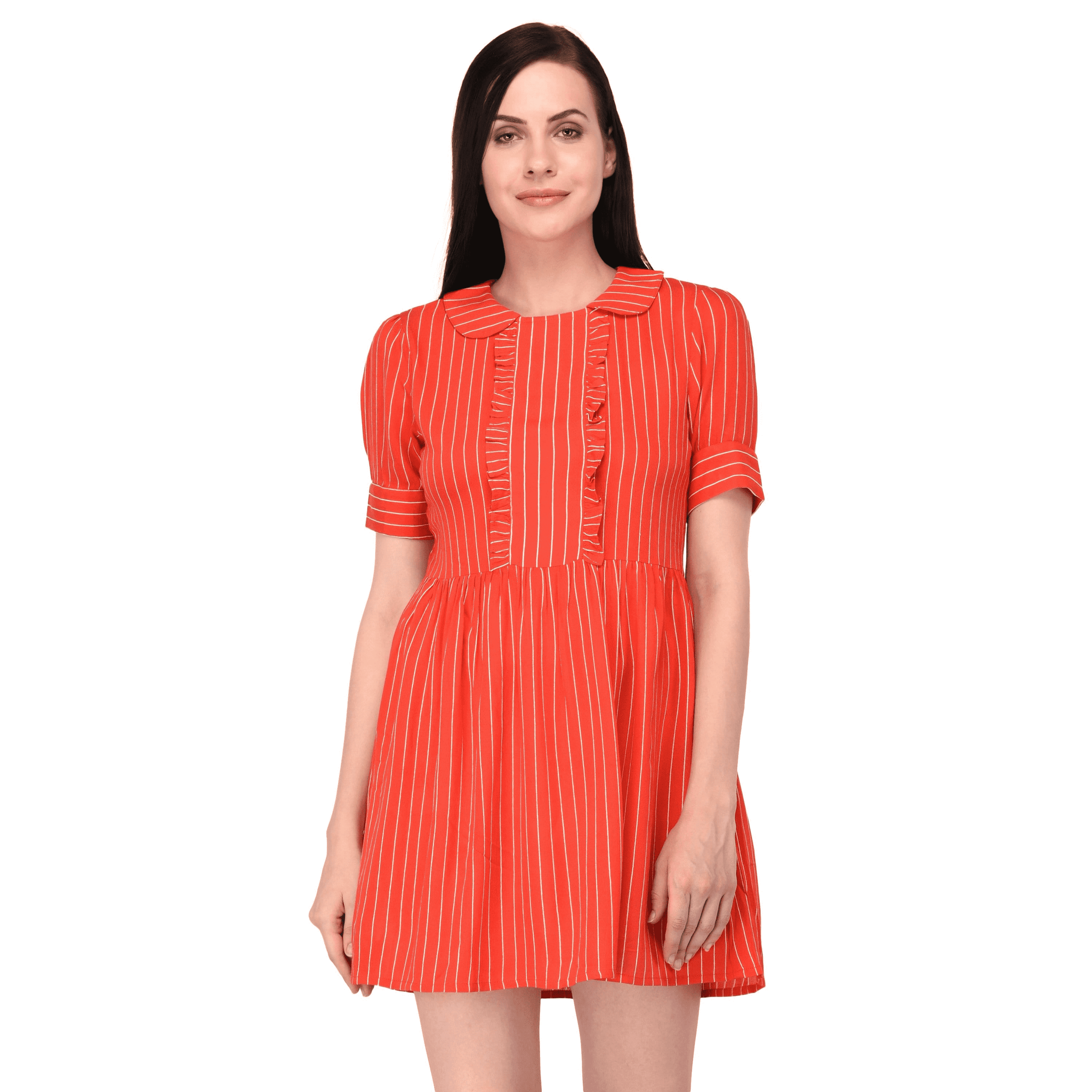 Stripe Ruffle Dress Red - NIXX Clothing