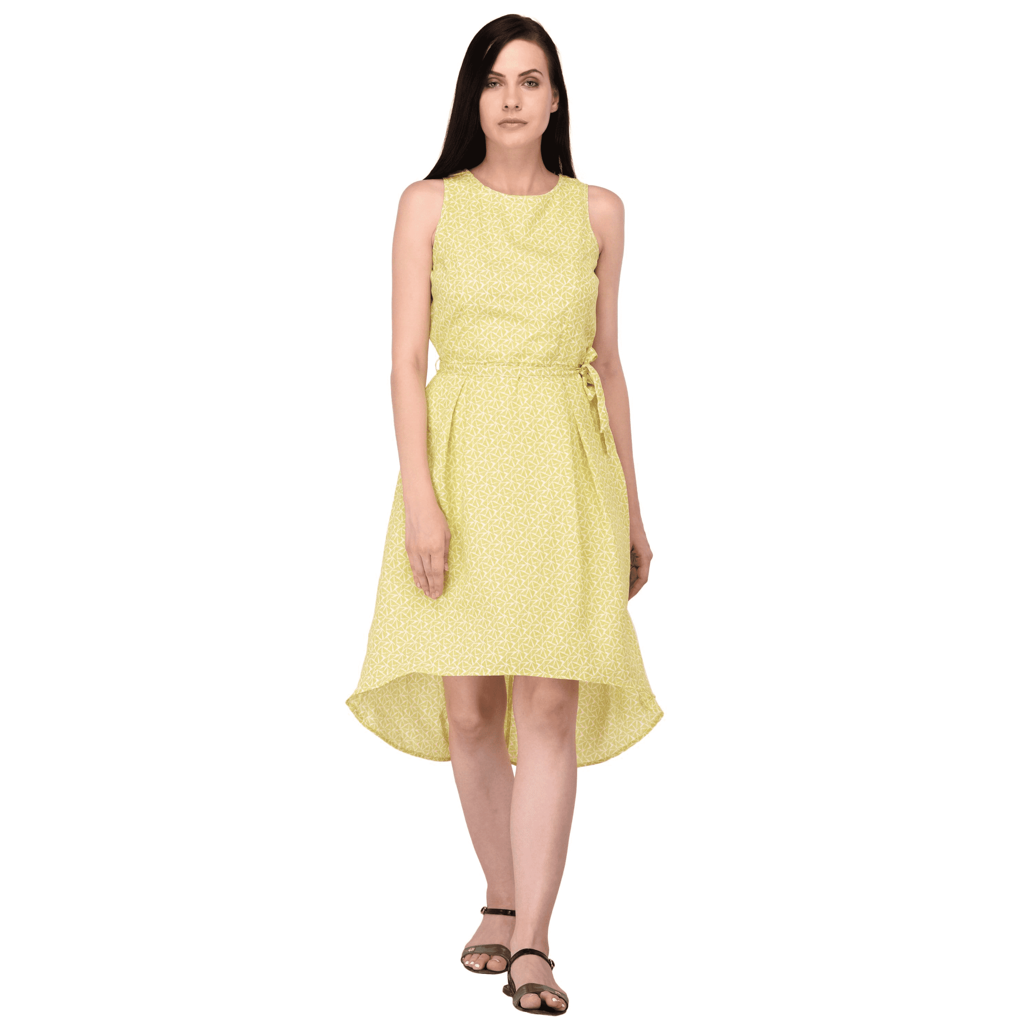 Printed High-Low Dress Yellow - NIXX Clothing