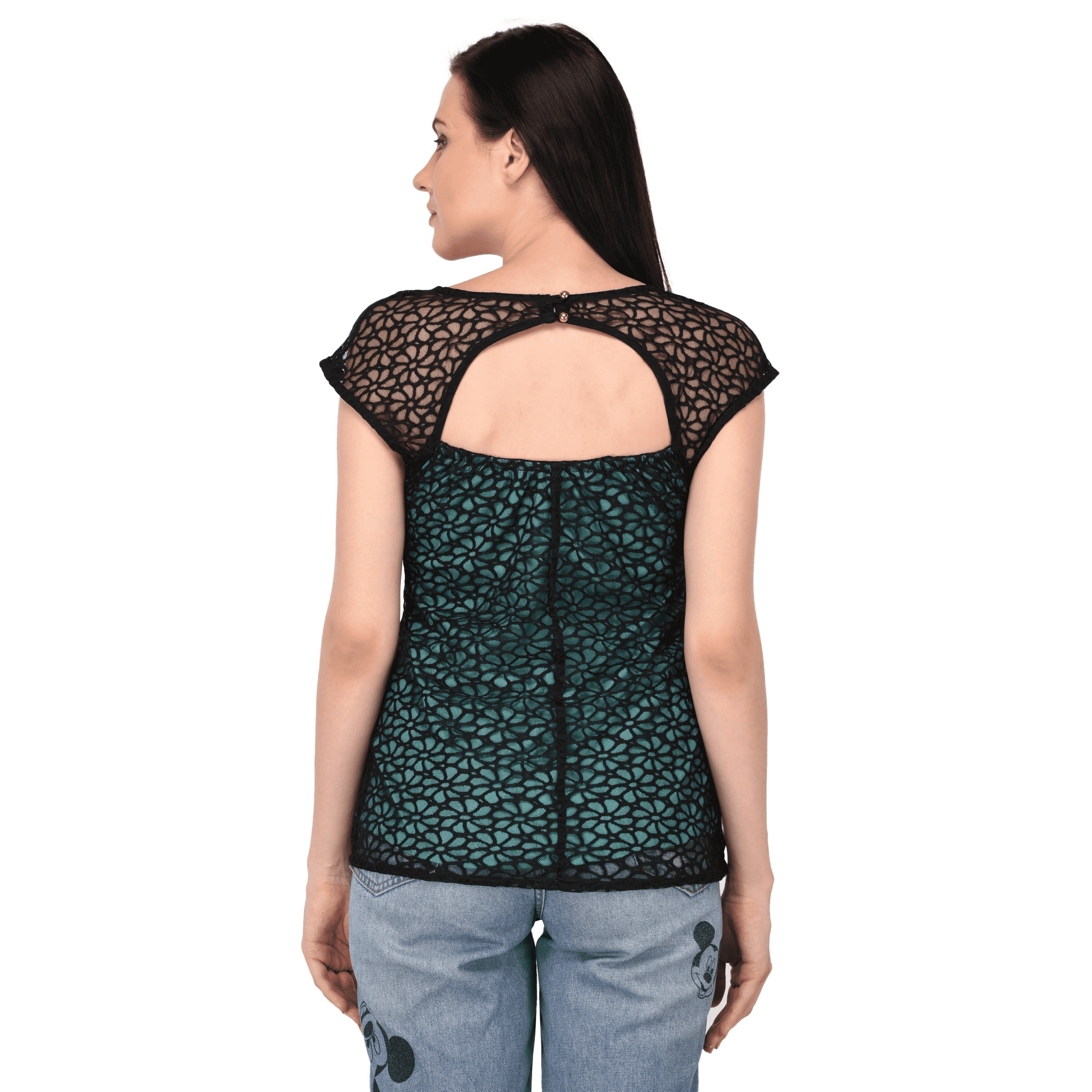 Lace Regular Fit Top Turquoise - NIXX Clothing