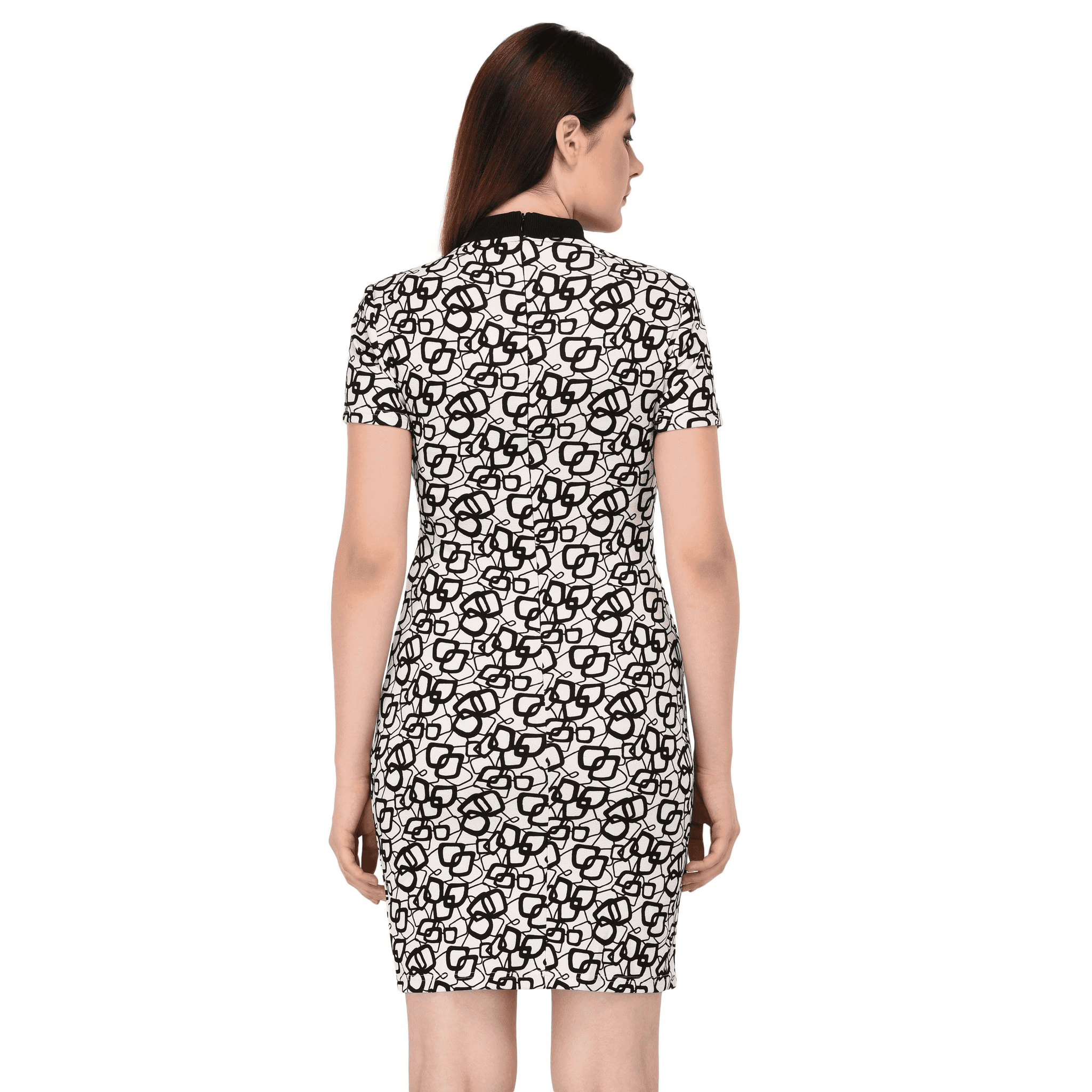 Printed Rib Detailed Dress White - NIXX Clothing