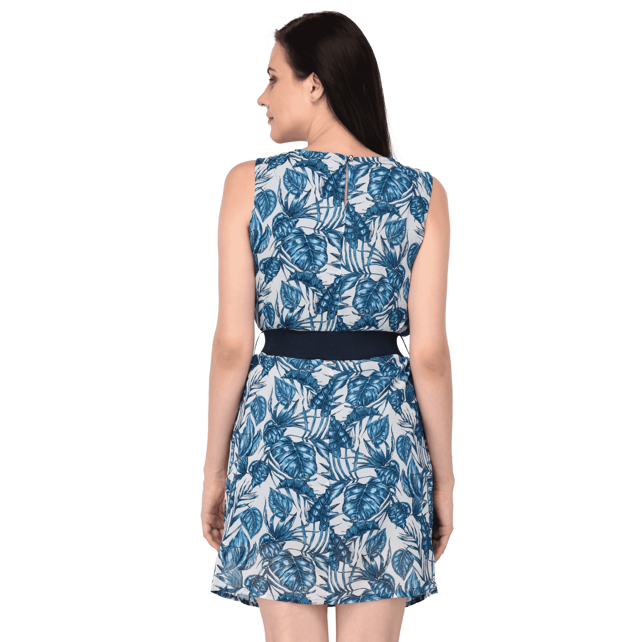 Printed Belt Detailed Dress Blue - NIXX Clothing