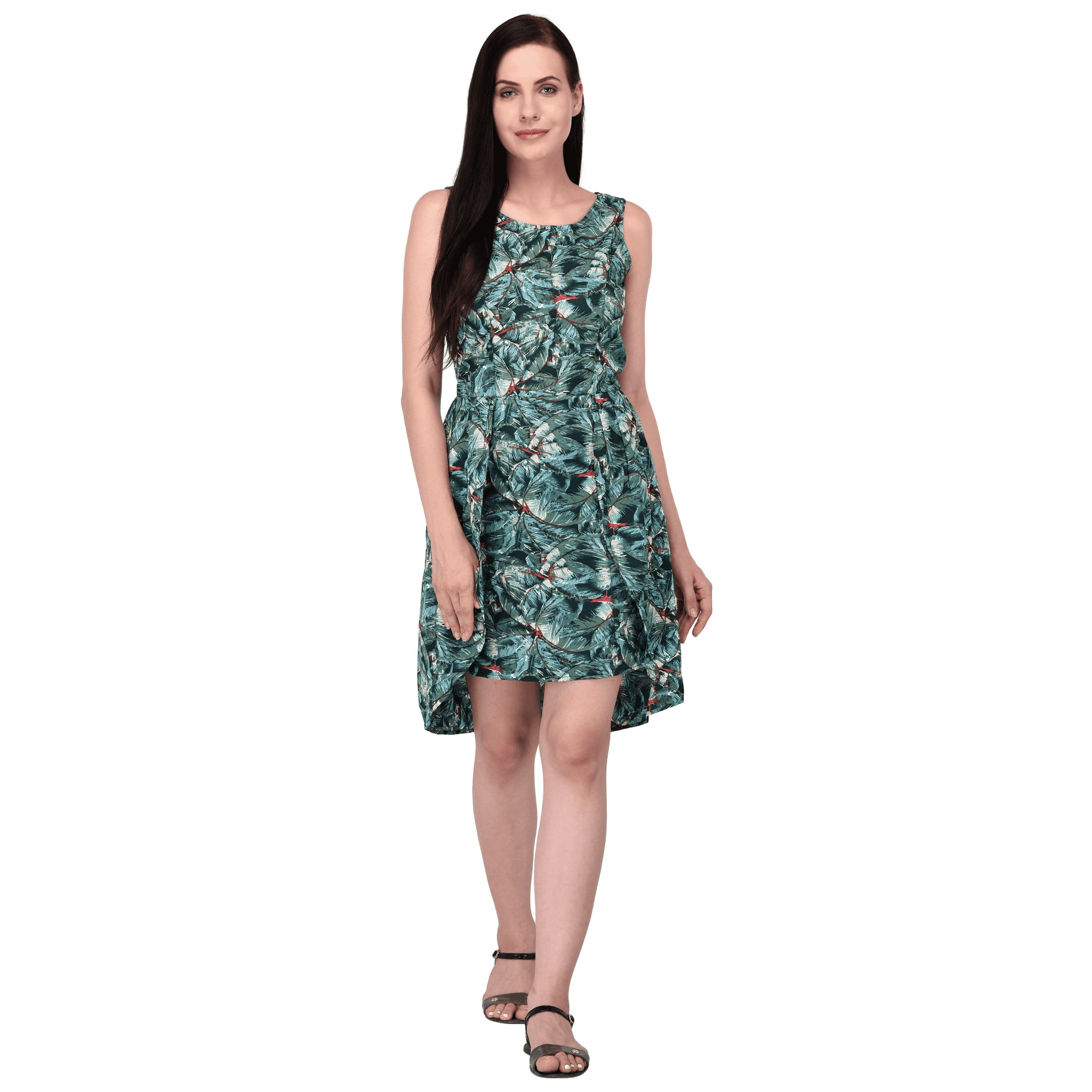 Tropical Print Dress Green - NIXX Clothing