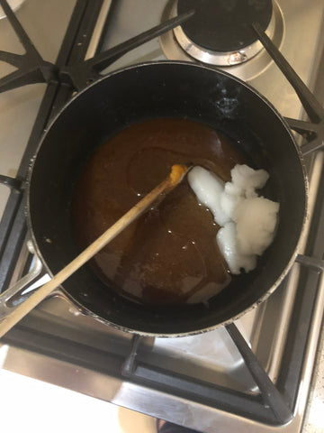 Adding the Coconut Oil to make Vegan Caramel