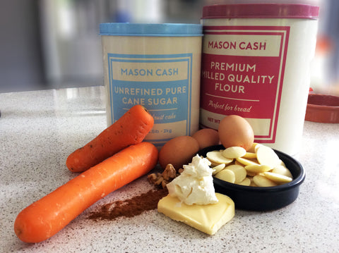 White Chocolate Blondie and Carrot Cake Ingredients