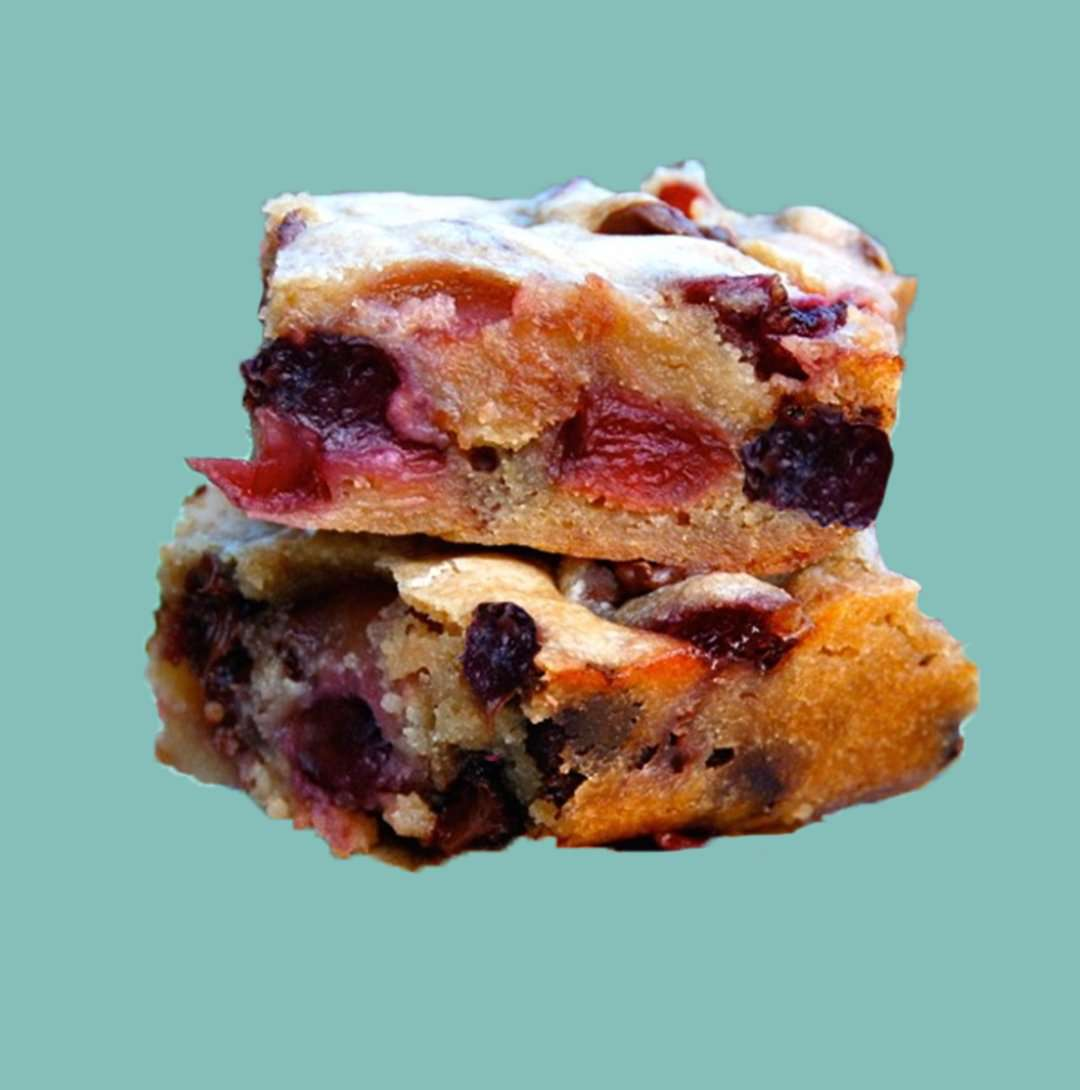White Chocolate Blondies - Cherry Cherry Christmas Blondies