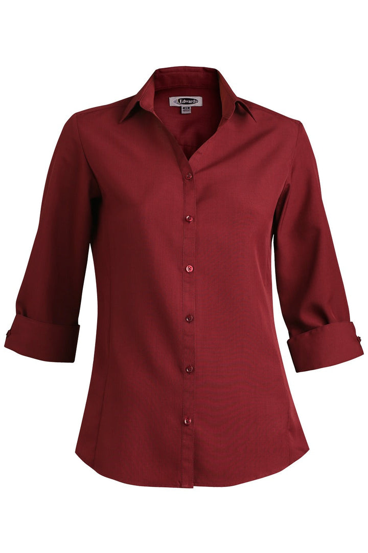 Women's Burgundy Bastiste 3/4 Sleeve Blouse