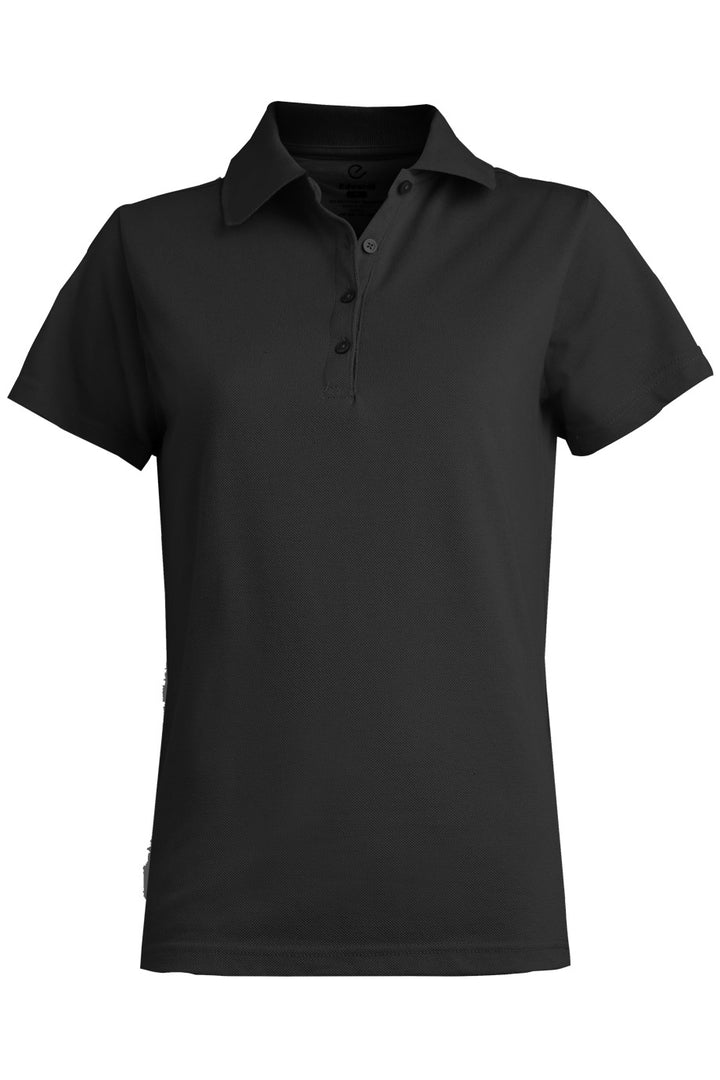 Women's Black Blended Pique Short Sleeve Polo